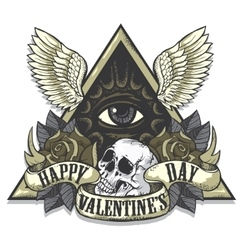 Tattoo art on the theme of Valentines Day vector