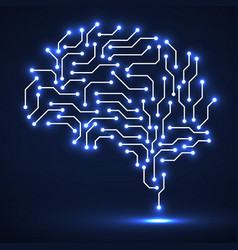 technological neon brain vector image