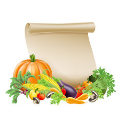 Thanksgiving or fresh produce scroll vector