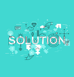 Thin line flat design banner of business solutions vector