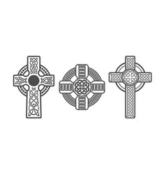 Three celtic crosses tattoo or art vector