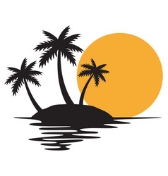 tropical island with three palms vector image
