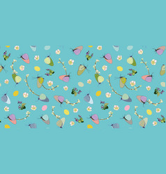 turquoise pattern with butterfly cherry and egg vector image