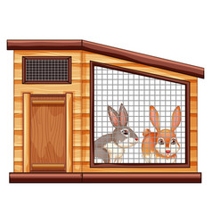 two cute rabbits in coop vector image