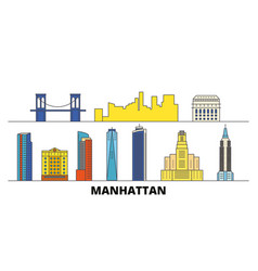 united states new york manhattan flat landmarks vector image