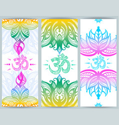 vertical banner with lotuses and ohm symbol vector image