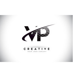 Vp v p letter logo design with swoosh and black vector
