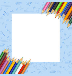 white paper with colored pencils vector image
