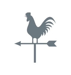 White weather vane with cock icon flat style vector image