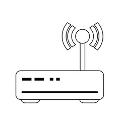 wifi router symbol isolated in black and white vector image