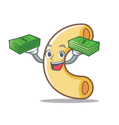 With money macaroni mascot cartoon style vector
