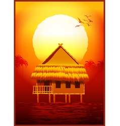 bungalow at sunset vector image vector image