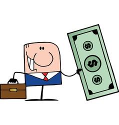 businessman holding cash vector image vector image