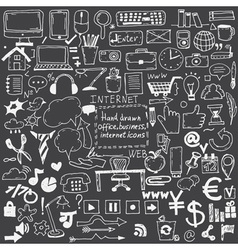 Hand drawn sketch icons for businessinternet and vector image