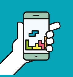 Hand holding smartphone gaming linear icon line vector