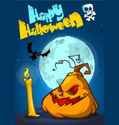 happy halloween posterwith pumpkin vector image