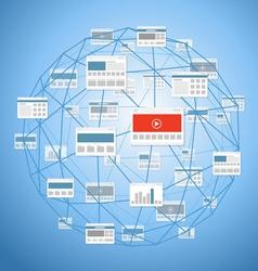 Modern digital media website connection vector image vector image
