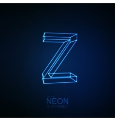 Neon 3D letter Z vector image vector image
