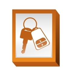 Rectangle button with keys and keychain vector