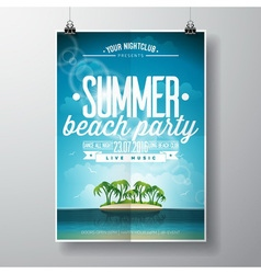 Summer Beach Party Flyer Design with clouds vector image vector image
