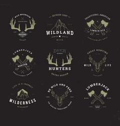 wildlife hunters logo set invert vector image