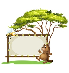A beaver beside an empty ad space vector image vector image
