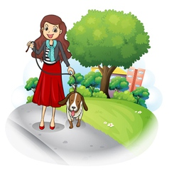 A woman with her dog at the road vector image