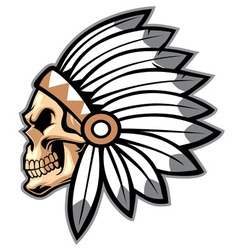 cartoon of indian chief skull vector image vector image