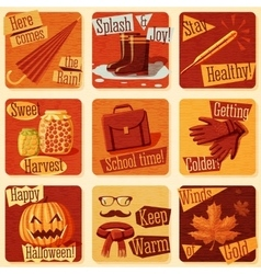 Collection of cute retro stylized autumn vector
