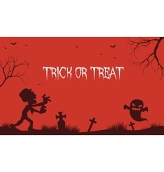 Halloween zombie and ghost red backgrounds vector image vector image