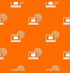 laptop and and wireless pattern seamless vector image