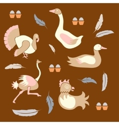 Set poultry farm birds vector