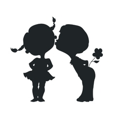 Silhouettes of kissing boy and girl vector image