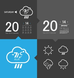 Weather icons and calendar vector image