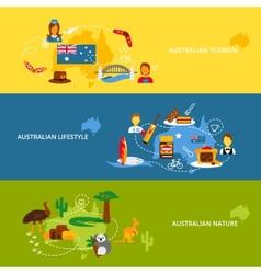 Australia flat banner set vector image vector image