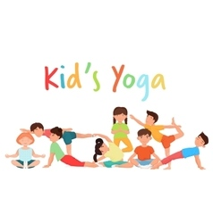 Cute yoga kids team group Children yoga vector image vector image