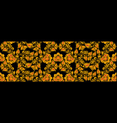 Floral seamless pattern hohloma drawing style vector