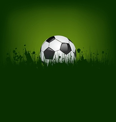 Football card with ball in grass vector image vector image