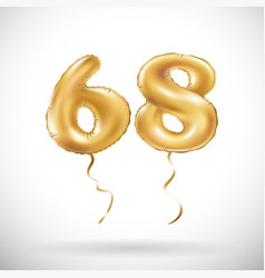 golden number 68 sixty eight metallic balloon vector image