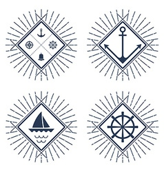 Set of nautical logos badges and labels vector image vector image