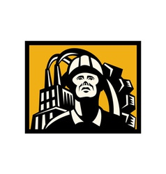 Worker with factory building and gear in back vector image vector image