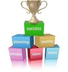 Business model win success trophy vector image vector image