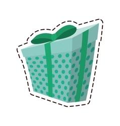 gift box ribbon parcel surprise dots color cut vector image vector image