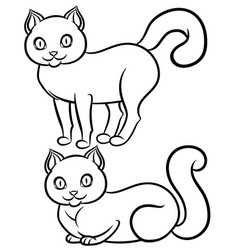 isolated black-n-white lying and standing cat vector image