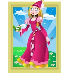 Princess in pink and Frog in fairy landscape vector image vector image