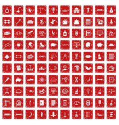 100 balance icons set grunge red vector