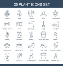 25 plant icons vector