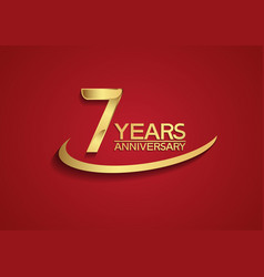7 years anniversary logo style with swoosh golden vector