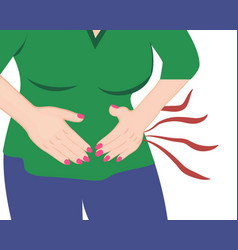 A girl having abdoman pain vector