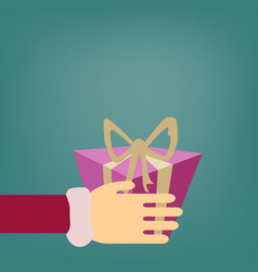 a surprise gift box pink with a gold bow vector image